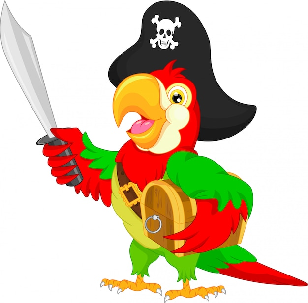 Caricature de perroquet pirate