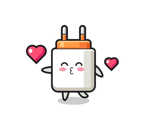 Caricature de personnage d'adaptateur d'alimentation avec geste de baiser, design mignon