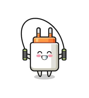 Caricature de personnage d'adaptateur secteur avec corde à sauter, design mignon