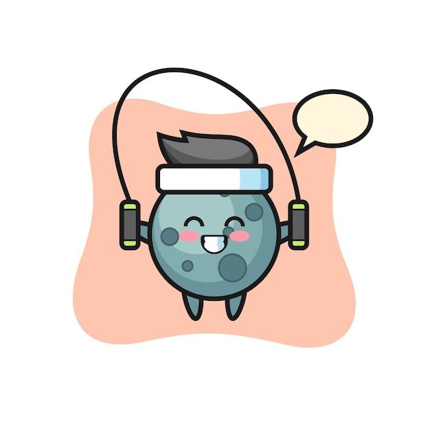 Caricature de personnage d'astéroïde avec corde à sauter, design de style mignon pour t-shirt, autocollant, élément de logo