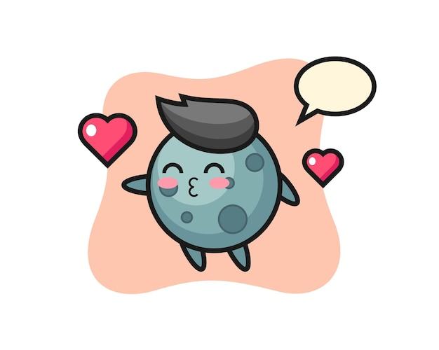 Caricature de personnage d'astéroïde avec geste de baiser, design de style mignon pour t-shirt, autocollant, élément de logo