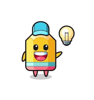 Caricature de personnage au crayon obtenant l'idée, conception de style mignon pour t-shirt, autocollant, élément de logo