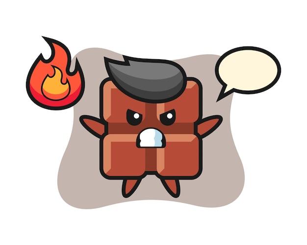 Caricature de personnage de barre de chocolat avec un geste de colère, style kawaii mignon.