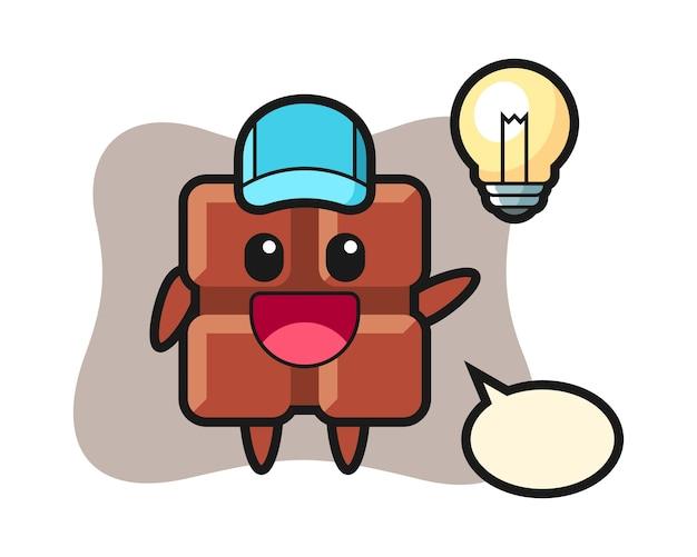 Caricature de personnage de barre de chocolat obtenir l'idée, style kawaii mignon.