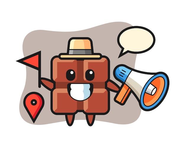 Caricature de personnage de barre de chocolat en tant que guide touristique, style kawaii mignon.