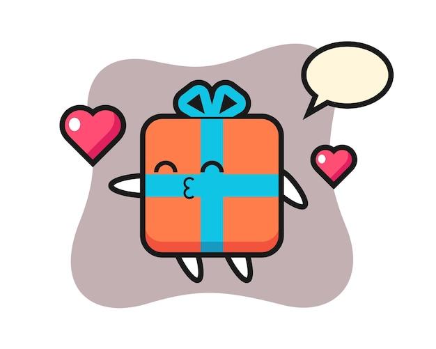 Caricature de personnage de boîte-cadeau avec geste de baiser