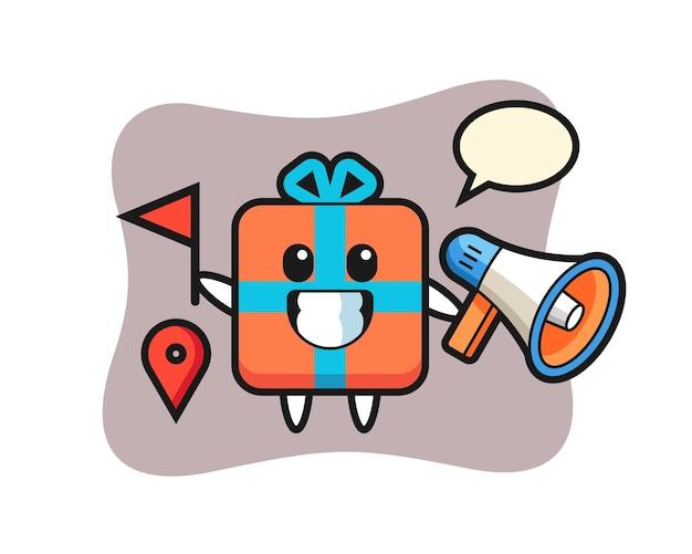 Caricature de personnage de boîte-cadeau en tant que guide touristique