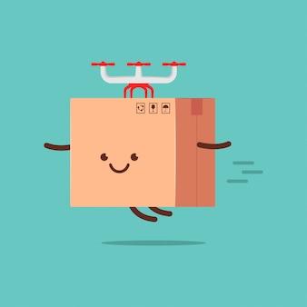 Caricature de personnage de boîte de livraison mignon.