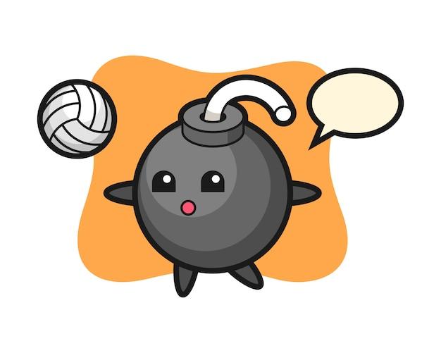 Caricature de personnage de bombe joue au volleyball
