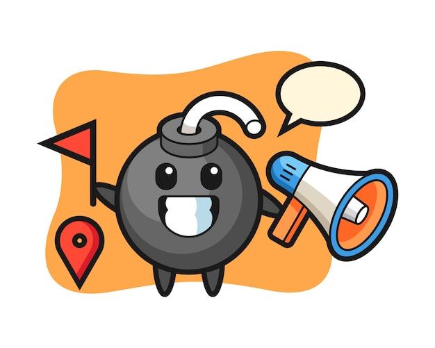 Caricature de personnage de bombe en tant que guide touristique
