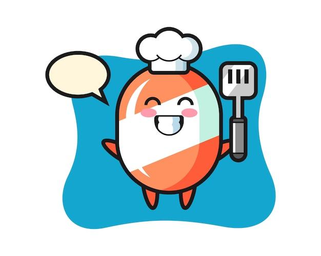 Caricature de personnage de bonbons en tant que chef cuisine