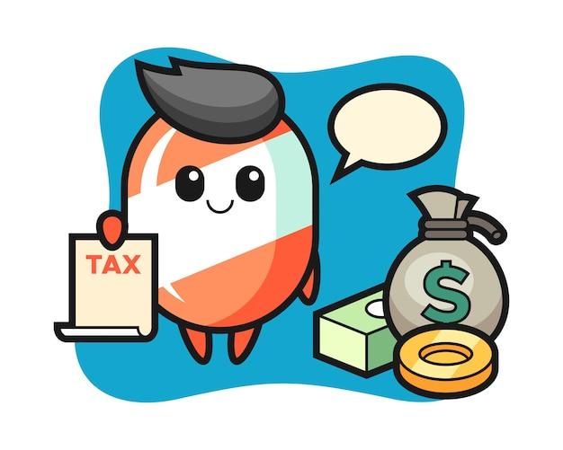 Caricature de personnage de bonbons en tant que comptable
