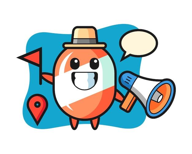 Caricature de personnage de bonbons en tant que guide touristique