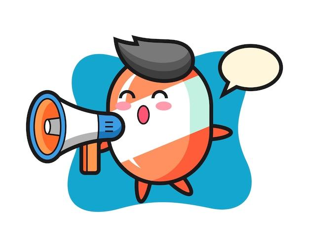 Caricature de personnage de bonbons tenant un mégaphone