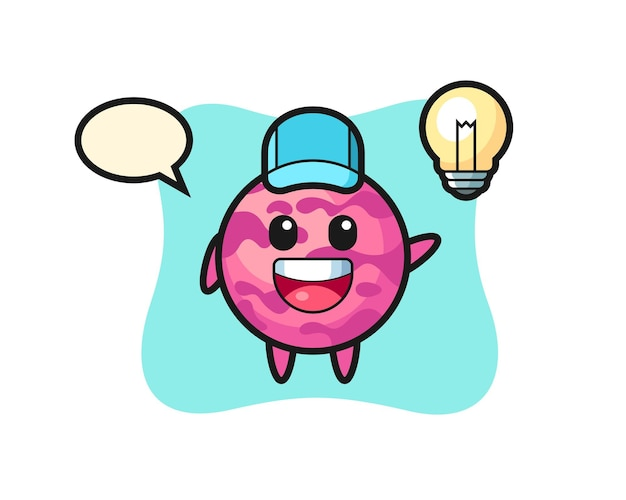 Caricature de personnage de boule de crème glacée ayant l'idée, design de style mignon pour t-shirt, autocollant, élément de logo