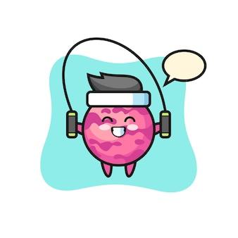 Caricature de personnage de boule de crème glacée avec corde à sauter, design de style mignon pour t-shirt, autocollant, élément de logo