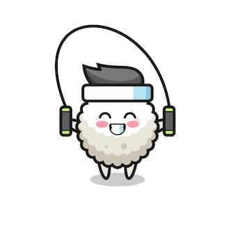 Caricature de personnage de boule de riz avec corde à sauter, design de style mignon pour t-shirt, autocollant, élément de logo