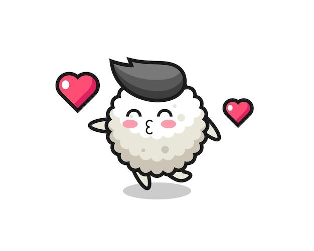 Caricature de personnage de boule de riz avec geste de baiser, design de style mignon pour t-shirt, autocollant, élément de logo