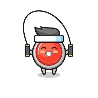 Caricature de personnage de bouton de panique d'urgence avec corde à sauter, design mignon