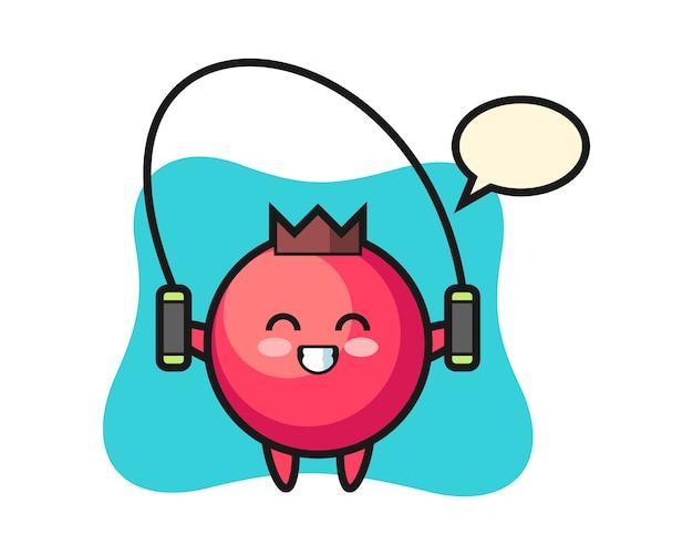 Caricature de personnage de canneberge avec corde à sauter, style mignon, autocollant, élément de logo