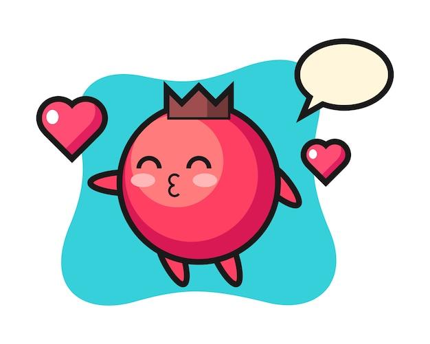 Caricature de personnage de canneberge avec geste de baiser, style mignon, autocollant, élément de logo