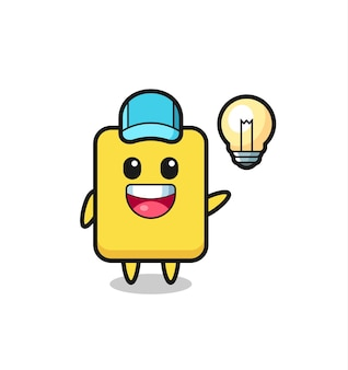Caricature de personnage de carte jaune obtenant l'idée, conception de style mignon pour t-shirt, autocollant, élément de logo