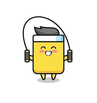 Caricature de personnage de carton jaune avec corde à sauter, design de style mignon pour t-shirt, autocollant, élément de logo