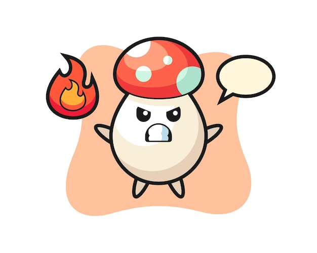 Caricature de personnage de champignon avec un geste en colère, design de style mignon pour t-shirt, autocollant, élément de logo