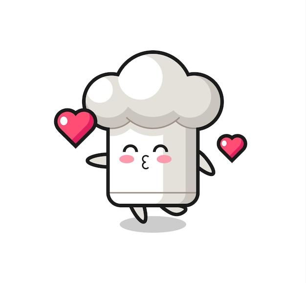 Caricature de personnage de chapeau de chef avec geste de baiser, design de style mignon pour t-shirt, autocollant, élément de logo