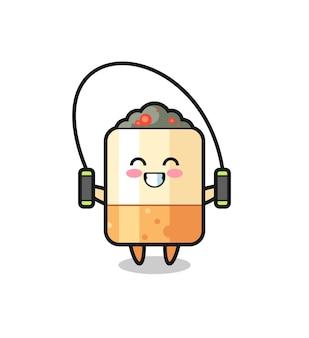 Caricature de personnage de cigarette avec corde à sauter, design mignon