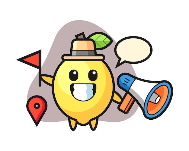Caricature de personnage de citron comme guide touristique