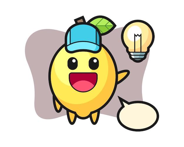 Caricature de personnage de citron à l'idée