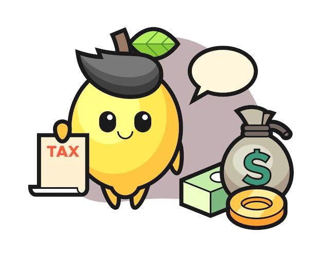 Caricature de personnage de citron en tant que comptable
