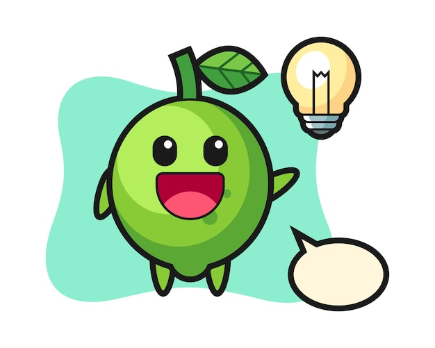 Caricature de personnage de citron vert avoir l'idée, style mignon, autocollant, élément de logo