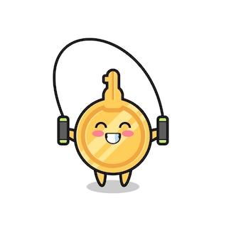 Caricature de personnage clé avec corde à sauter, design mignon