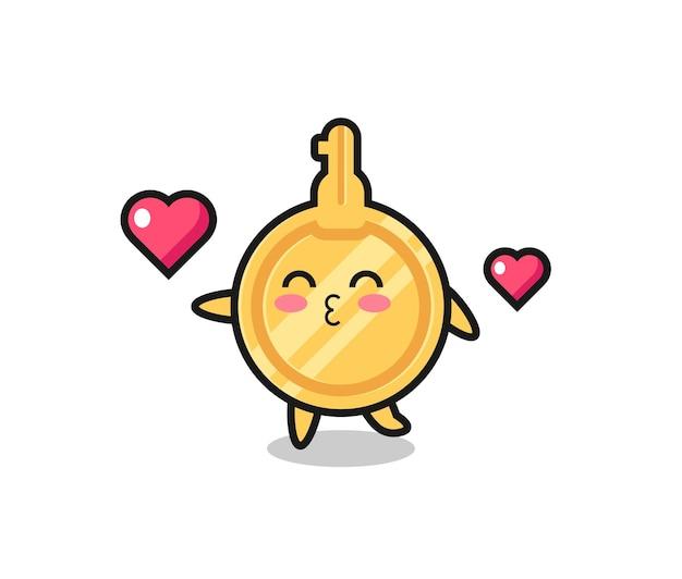 Caricature de personnage clé avec geste de baiser, design mignon
