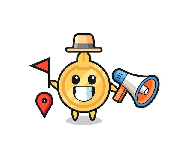 Caricature de personnage de clé en tant que guide touristique, design mignon