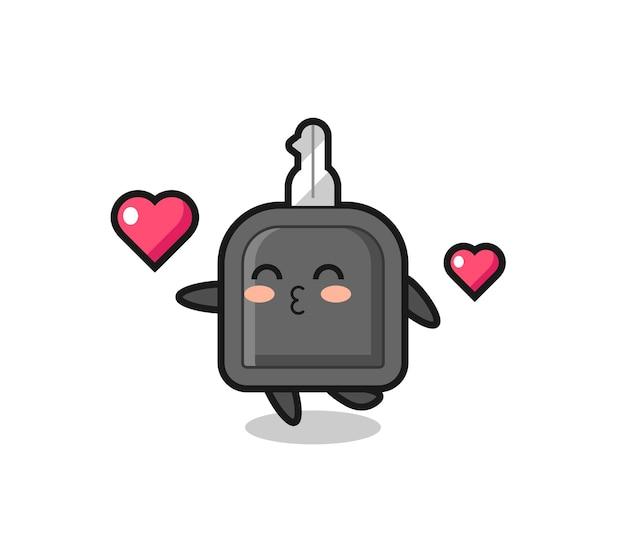 Caricature de personnage clé de voiture avec geste de baiser, design de style mignon pour t-shirt, autocollant, élément de logo