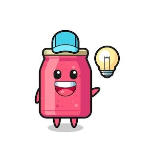 Caricature de personnage de confiture de fraises ayant l'idée, design mignon