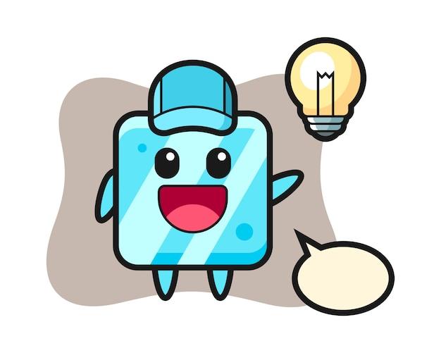 Caricature de personnage de cube de glace avoir l'idée