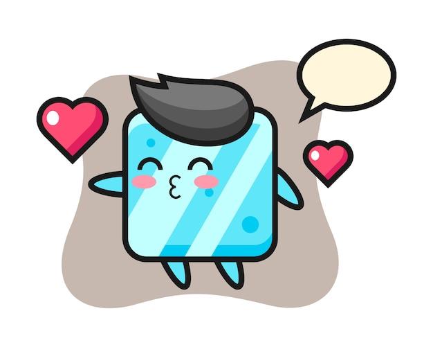 Caricature de personnage de cube de glace avec geste de baiser