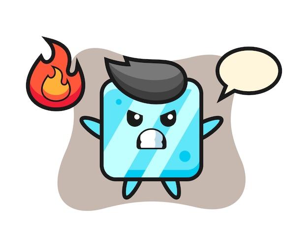 Caricature de personnage de cube de glace avec un geste de colère