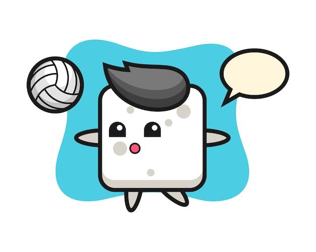Caricature de personnage de cube de sucre joue au volleyball, style mignon pour t-shirt, autocollant, élément de logo