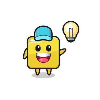 Caricature de personnage de dossier obtenant l'idée, conception de style mignon pour t-shirt, autocollant, élément de logo