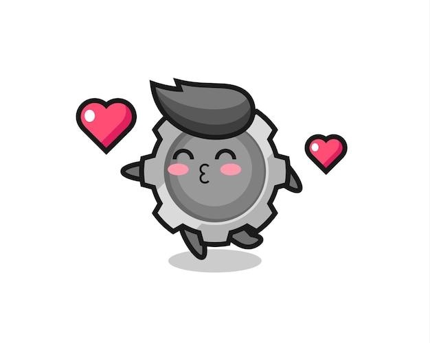 Caricature de personnage d'engrenage avec geste de baiser, design de style mignon pour t-shirt, autocollant, élément de logo