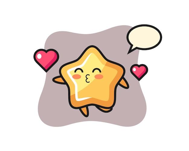 Caricature de personnage étoile avec geste de baiser, design de style mignon pour t-shirt, autocollant, élément de logo