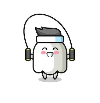 Caricature de personnage fantôme avec corde à sauter, design de style mignon pour t-shirt, autocollant, élément de logo
