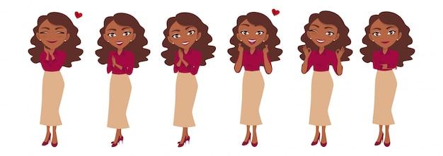 Caricature de personnage ou femme d'affaires dans différentes poses