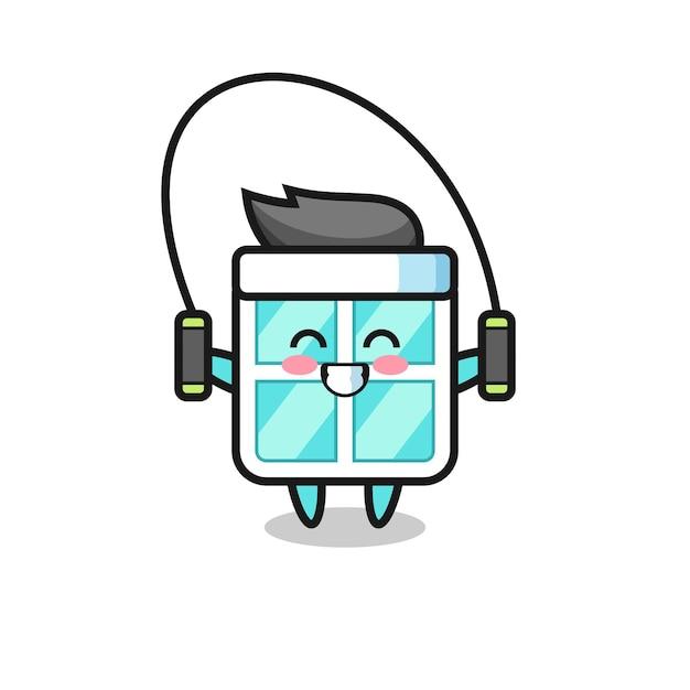 Caricature de personnage de fenêtre avec corde à sauter, design de style mignon pour t-shirt, autocollant, élément de logo