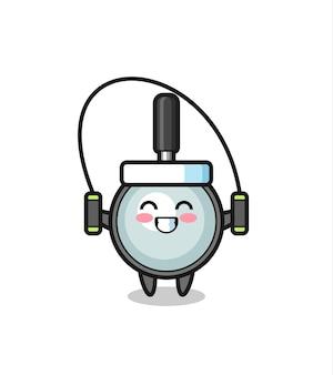 Caricature de personnage en forme de loupe avec corde à sauter, design de style mignon pour t-shirt, autocollant, élément de logo